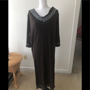 Cabernet  casual chocolate brown cotton maxi dress